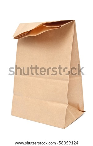 Brown kraft paper lunch bag on white background