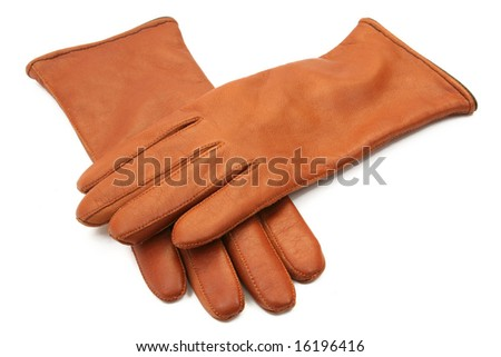 brown ladies leather gloves isolated on white background - stock photo