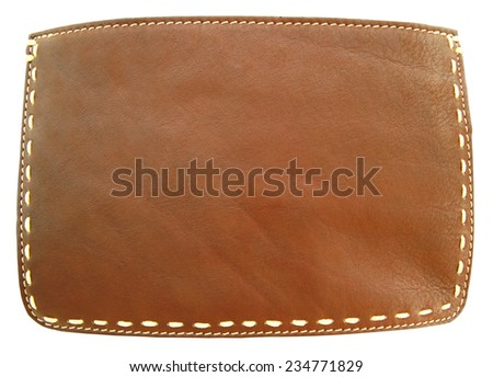 Brown leather and stitch - stock photo