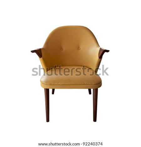 brown leather armchair isolated - stock photo