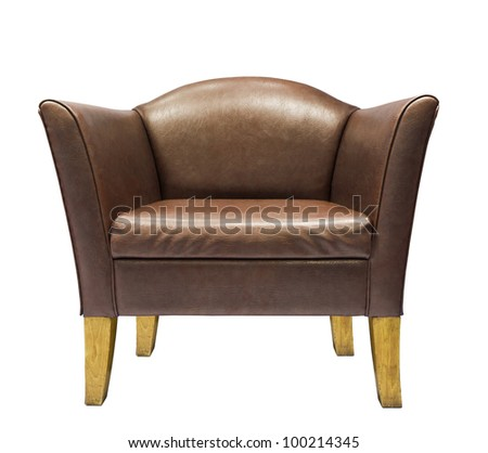 Brown leather armchair isolated on white background - stock photo