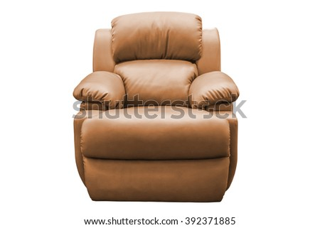 Brown leather armchair isolated on white background, with clipping path. - stock photo