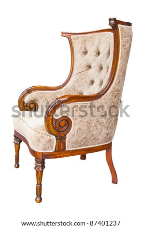 Brown Leather armchair over the white