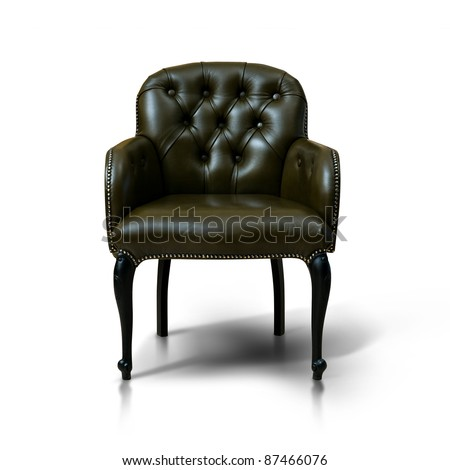 Brown Leather armchair over the white - stock photo