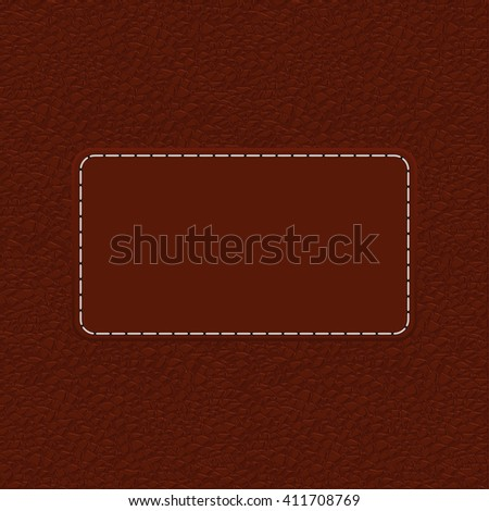 Brown leather background with blank label. Illustration. Raster version