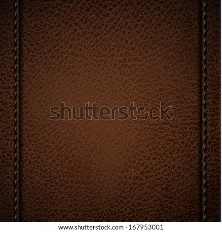 Brown leather background with l stitches - raster version - stock photo