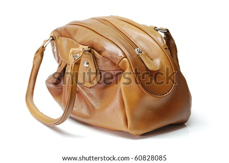 Brown leather bag - stock photo