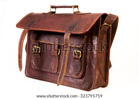 brown leather bag for executives clicked against a white background available with clipping mask - stock photo