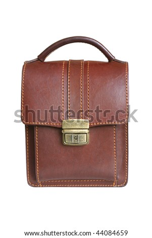 Brown leather bag isolated on the white background