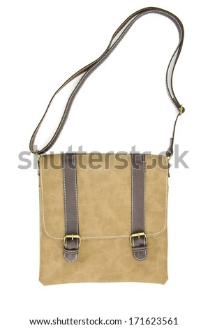 brown leather bag isolated on white background  - stock photo