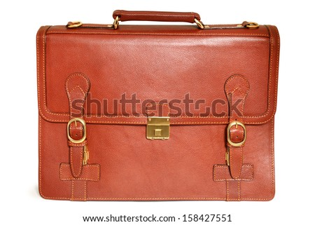 Brown leather bag on a white background - stock photo