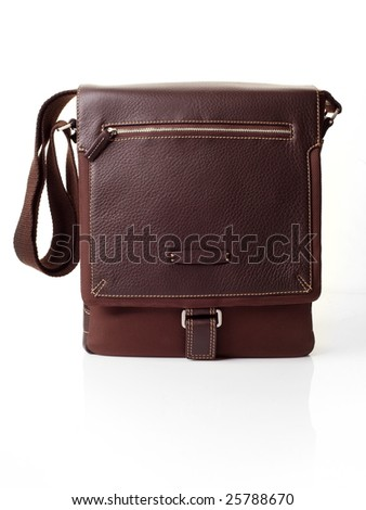 Brown leather bag over white background - stock photo