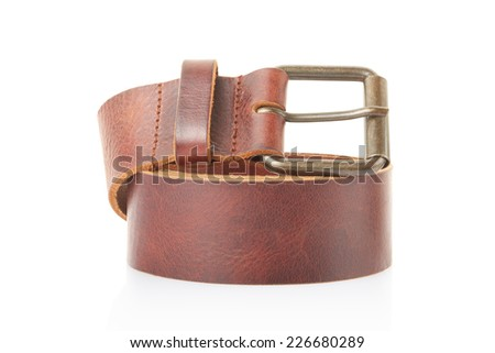 Brown leather belt isolated on white, clipping path included - stock photo