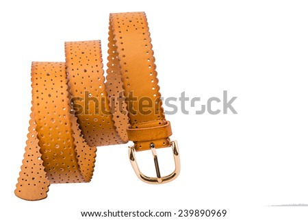 Brown leather belt on a white background,isolated - stock photo