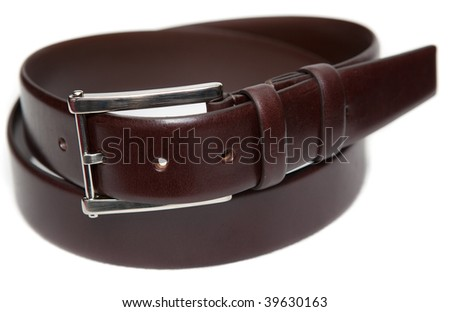 Brown leather belt with metal buckle on a white background.