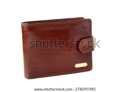 Brown leather billfold isolated on white