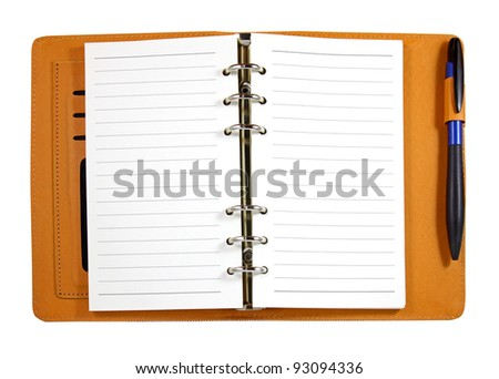 Brown leather binder notebook with pen isolated on white - stock photo