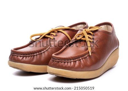 Brown leather Boat Shoes  isolate on white background