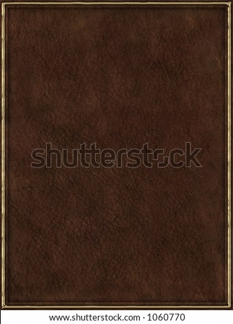 Brown leather book cover with golden frame - stock photo