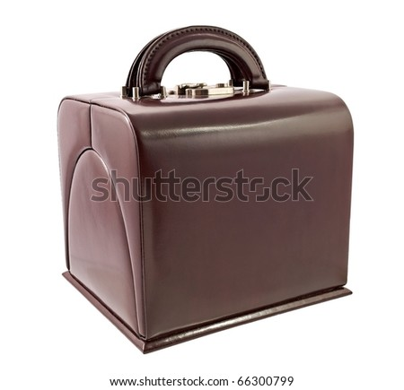 Brown leather box for cosmetic or jewelery