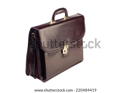 Brown leather briefcase isolated on white background - stock photo