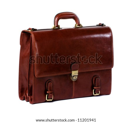 Brown leather briefcase of a businessman - stock photo