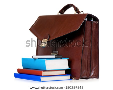 Brown leather briefcase with books, isolated on white background  - stock photo