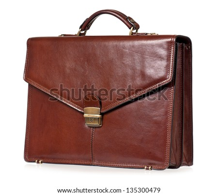 Brown leather briefcase with brass buckle, isolated on white background - stock photo