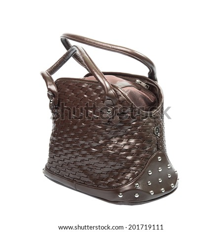 Brown leather carrier for small dogs and cats. - stock photo