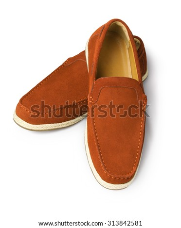 Brown Leather Casual Shoes for Men on White Background - stock photo