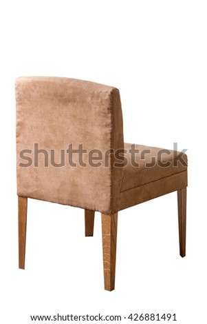 Brown leather chair isolated on white
