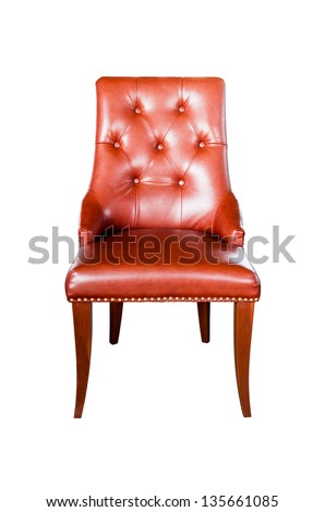 Brown leather chair isolated on white with clipping path - stock photo