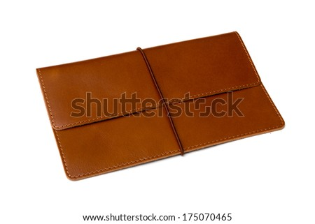 Brown leather clutch bag on a white background - stock photo
