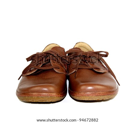 Brown leather comfortable shoes with laces