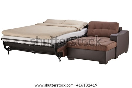 Brown leather corner couch bed isolated on white include clipping path - stock photo