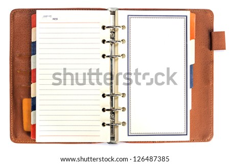 Brown leather cover of binder notebook - stock photo