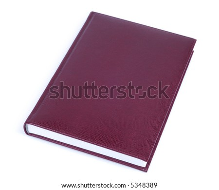 Brown leather covered book isolated over white background