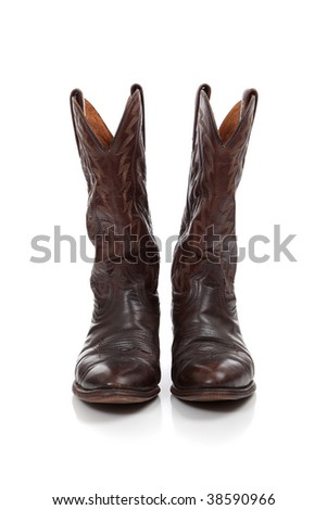 Brown leather cowboy boots on a white background - stock photo
