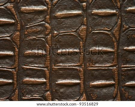 brown leather crocodile texture - stock photo