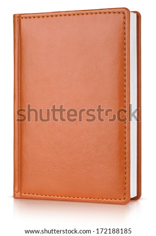 Brown leather diary book isolated on white with clipping path - stock photo