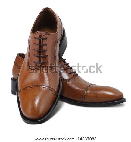 Brown leather executive shoes. Clipping path included. - stock photo