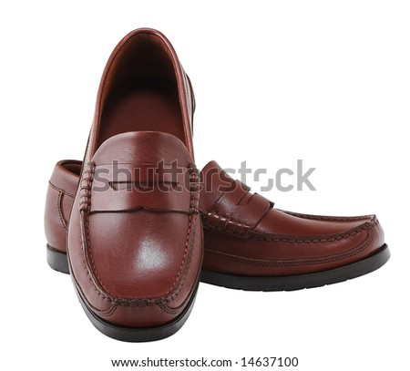 Brown leather fashion shoes. Clipping path included. - stock photo