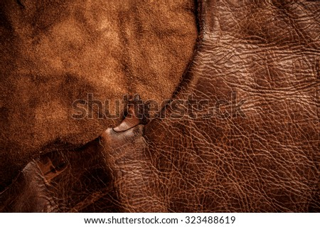Brown Leather, Genuine. Concept and Idea of Fine Leather Crafting, Handcrafts, Handmade, Handcrafted, Leather Industry. Background Textured and Wallpaper. Rustic Style. - stock photo