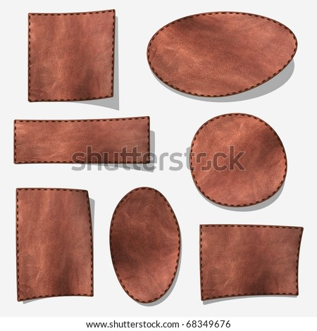Brown leather label - isolated on gray with shadow - stock photo