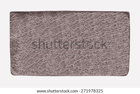 brown leather label on white background - stock photo