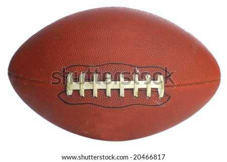 brown leather laced football isolated on white background - stock photo