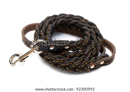 brown leather leash on a white background - stock photo