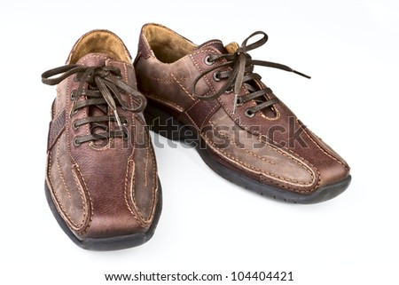 Brown leather man's shoes on a white background - stock photo