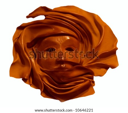 Brown leather mask - isolated on white - stock photo