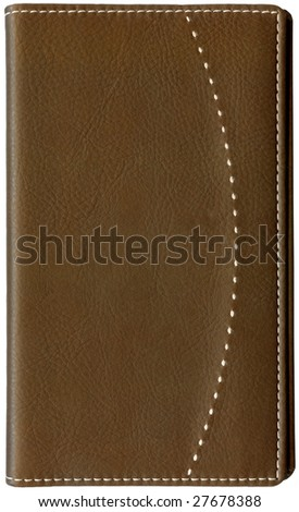Brown leather memo book isolated on white background - stock photo